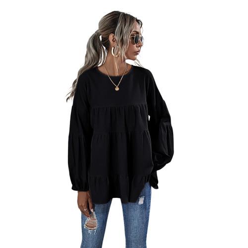 Black Lantern Sleeve Loose Long Sleeve Top TQK210579-2