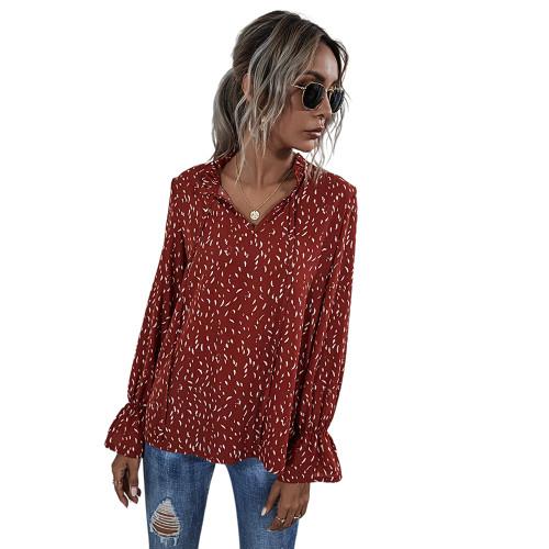 Red Polka Dot V Neck Long Sleeve Top TQK210578-3