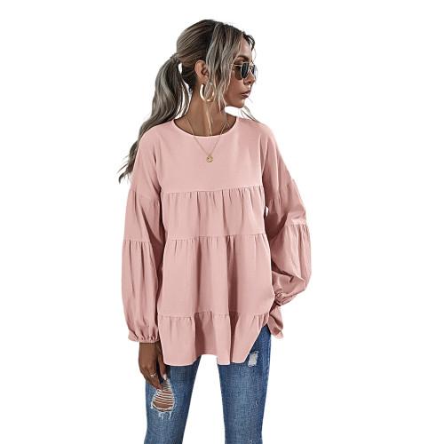 Pink Lantern Sleeve Loose Long Sleeve Top TQK210579-10