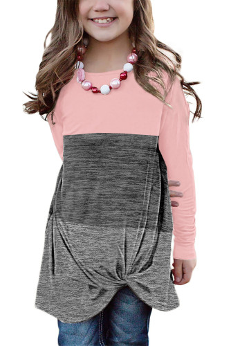 Pink Little Girls Twisted Knot Color Block Long Sleeve Top TZ25143-10