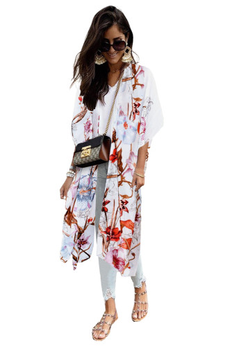 Multicolor Kimono Sleeve Floral Print Graceful Cover Up LC254281-22