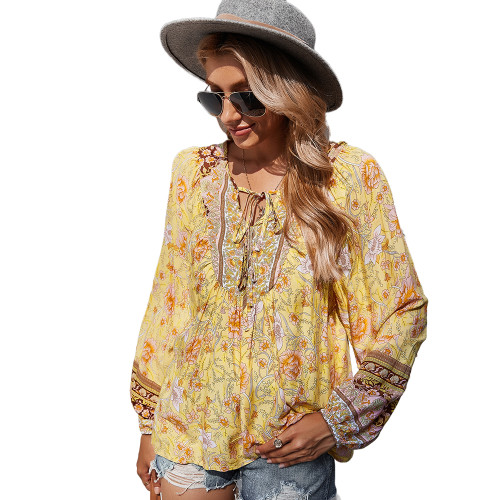Yellow Holiday Floral Print Lace Up Top TQK210580-7