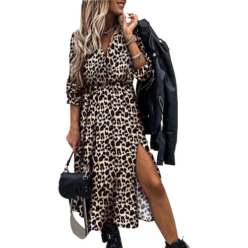 Leopard High Split Button Long Maxi Dress TQK310462-20