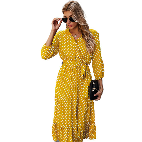 Yellow 3/4 Sleeve Polka Dot Ruffle Hem Maxi Dress TQK310456-7
