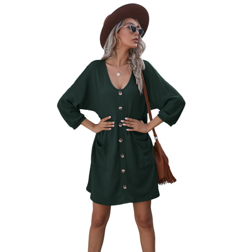 Dark Green Buttoned Loose Style Knit Dress with Pockets TQK310453-36