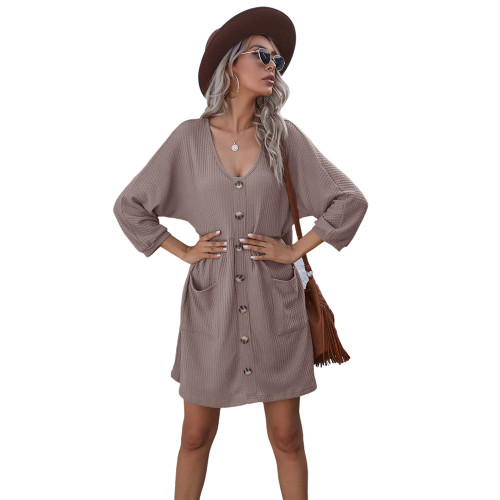Khaki Buttoned Loose Style Knit Dress with Pockets TQK310453-21
