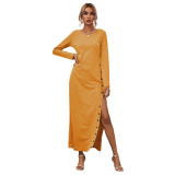 Yellow Button High Split Long Casual Dress TQK310463-7