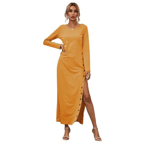 Yellow Button High Split Long Casual Dress TQK310463-7