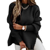 Black Solid Sides Split Pullover Sweater TQK271216-2