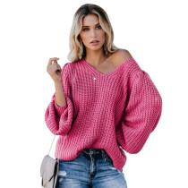 Rosy Solid Lantern Sleeve V Neck Knit Sweater TQK271215-6