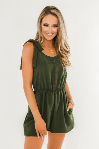 Green Tie Sleeve Buttons Pocketed Cutie Romper LC641369-9