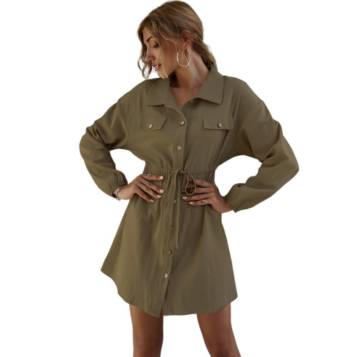 Army Green 100% Cotton Double Pockets Shirt Dress TQK310452-27