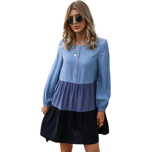 Blue Colorblock Button Up Long Sleeve Dress TQK310454-5