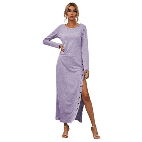 Light Purple Button High Split Long Casual Dress TQK310463-38