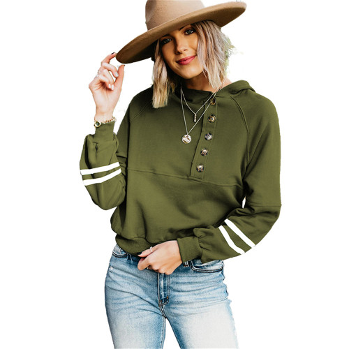 Army Green Buttoned Long Sleeve Hoodie TQK230305-27