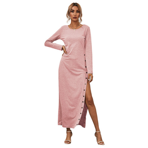 Pink Button High Split Long Casual Dress TQK310463-10
