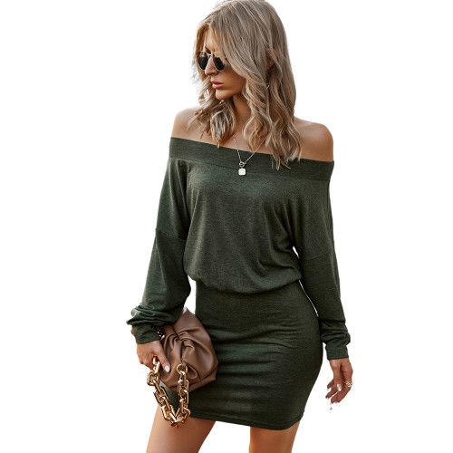 Army Green Solid Off Shoulder Long Seeve Dress TQK310450-27