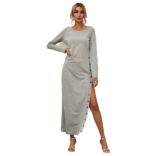 Gray Button High Split Long Casual Dress TQK310463-11