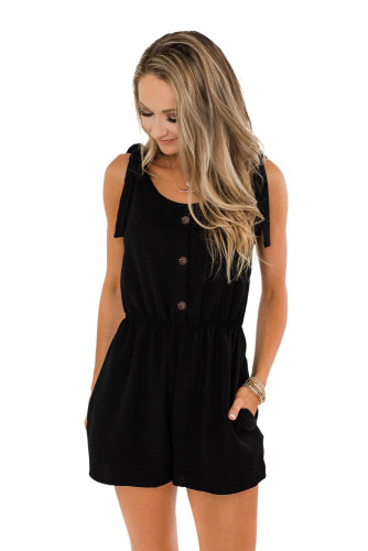 Black Tie Sleeve Buttons Pocketed Cutie Romper LC641369-2