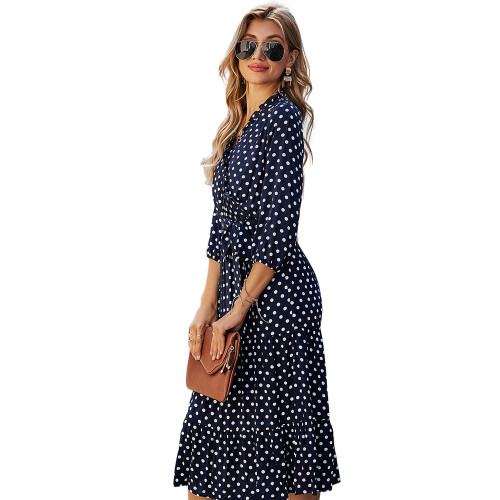 Navy Blue 3/4 Sleeve Polka Dot Ruffle Hem Maxi Dress TQK310456-34