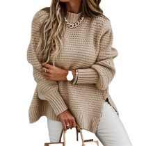 Apricot Solid Sides Split Pullover Sweater TQK271216-18