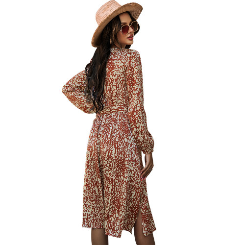 Caramel High Waist Long Sleeve Vintage Dress TQK310460-56