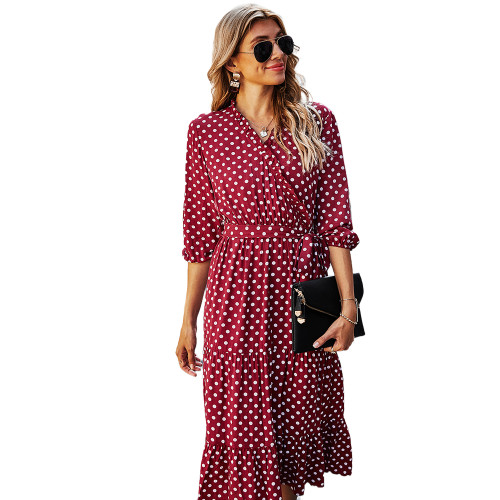 Red 3/4 Sleeve Polka Dot Ruffle Hem Maxi Dress TQK310456-3