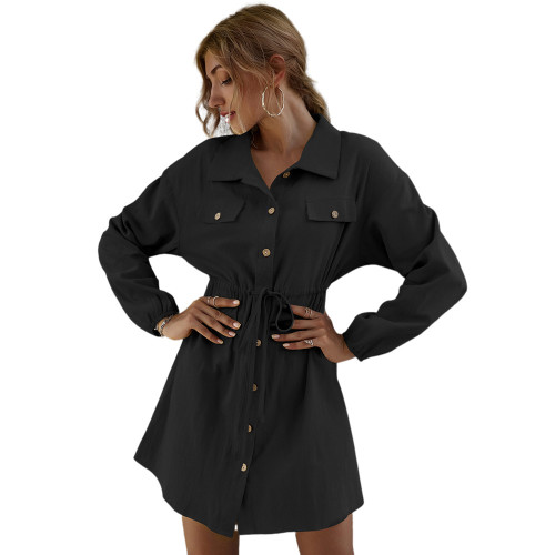 Black 100% Cotton Double Pockets Shirt Dress TQK310452-2