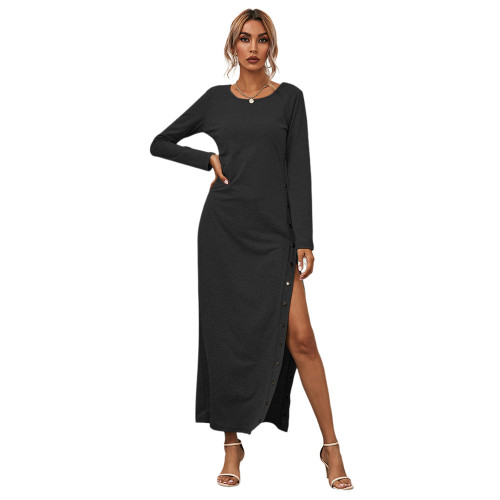 Black Button High Split Long Casual Dress TQK310463-2
