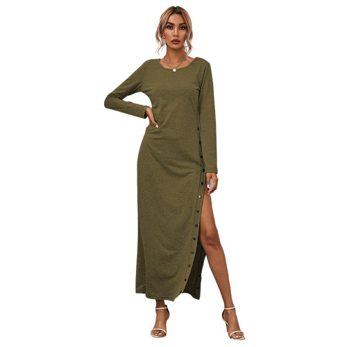Army Green Button High Split Long Casual Dress TQK310463-27