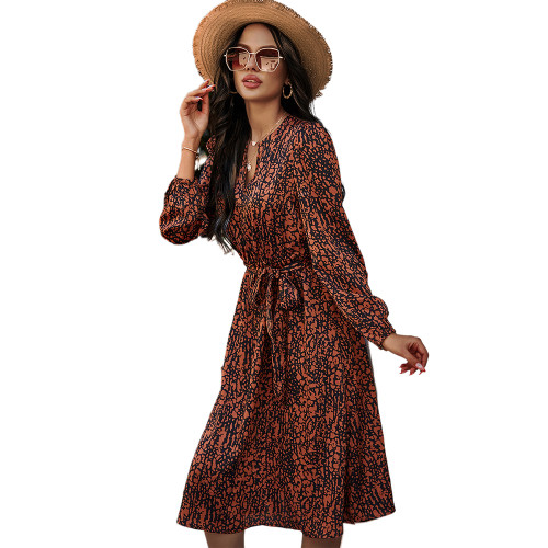 Orange High Waist Long Sleeve Vintage Dress TQK310460-14