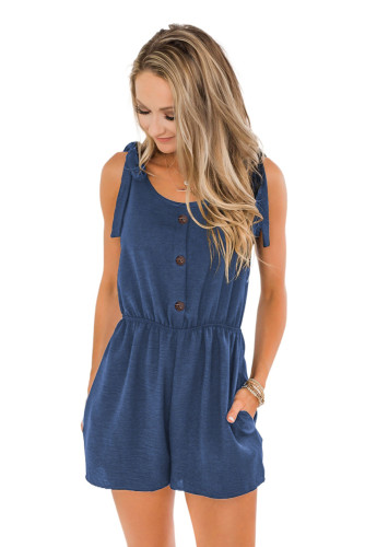 Blue Tie Sleeve Buttons Pocketed Cutie Romper LC641369-5