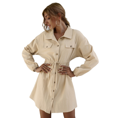 Apricot 100% Cotton Double Pockets Shirt Dress TQK310452-18