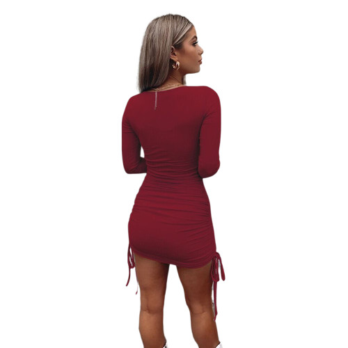 Wine Red Square Neck Drawstring Long Sleeve Bodycon Dress TQK310447-103