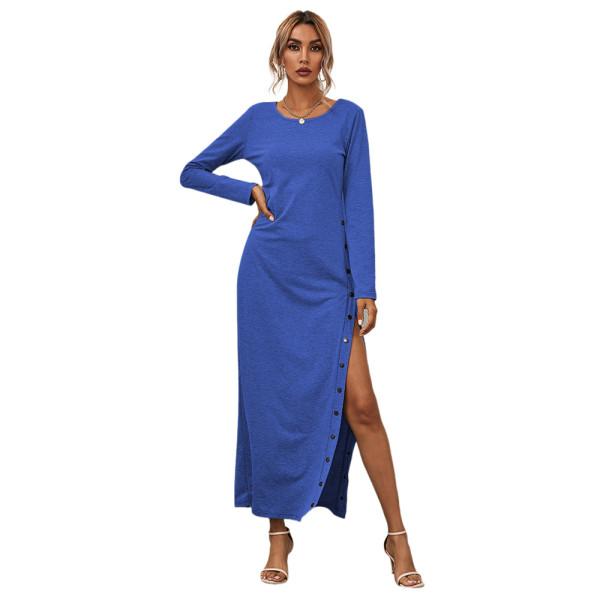 Blue Button High Split Long Casual Dress TQK310463-5