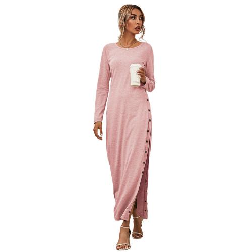 Pink Button High Split Long Casual Dress TQK310463-10