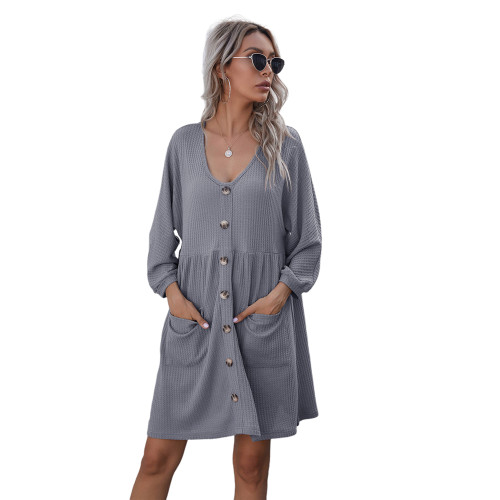 Light Gray Buttoned Loose Style Knit Dress with Pockets TQK310453-25