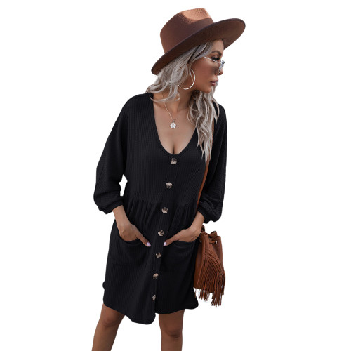Black Buttoned Loose Style Knit Dress with Pockets TQK310453-2