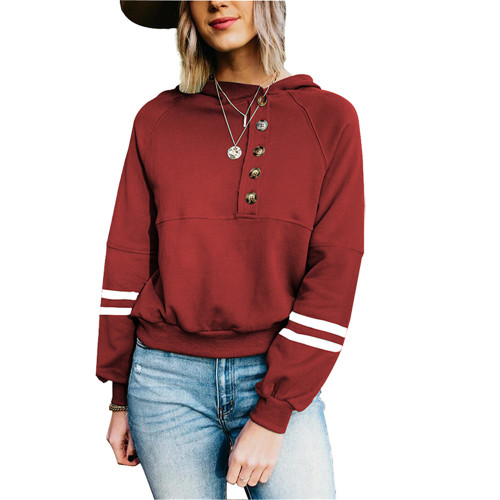 Wine Red Buttoned Long Sleeve Hoodie TQK230305-103