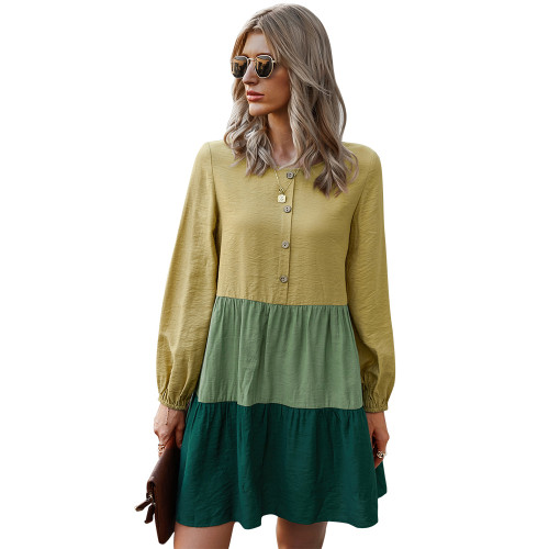 Yellow Colorblock Button Up Long Sleeve Dress TQK310454-7