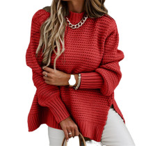 Red Solid Sides Split Pullover Sweater TQK271216-3
