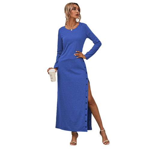 Blue Button High Split Long Casual Dress TQK310463-5