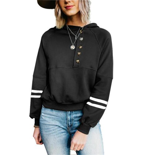 Black Buttoned Long Sleeve Hoodie TQK230305-2