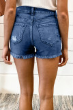 Blue Frayed Hem Single-breasted Ripped Denim Shorts LC78838-5