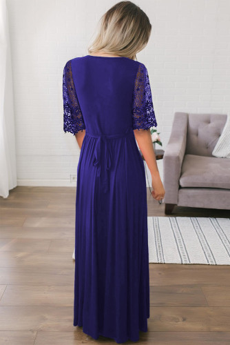 Dark Blue Floral Lace Half Sleeve Wrap V Neck Maxi Dress LC611614-105