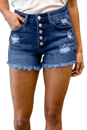Blue Frayed Hem Single-breasted Ripped Denim Shorts LC78838-5