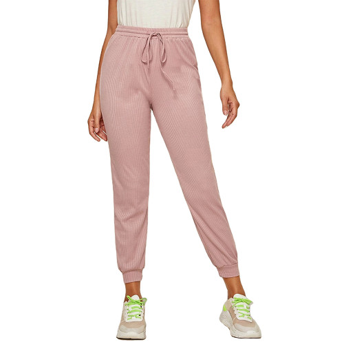 Pink Ribbed Drawstring Jogging Pant TQK520073-10