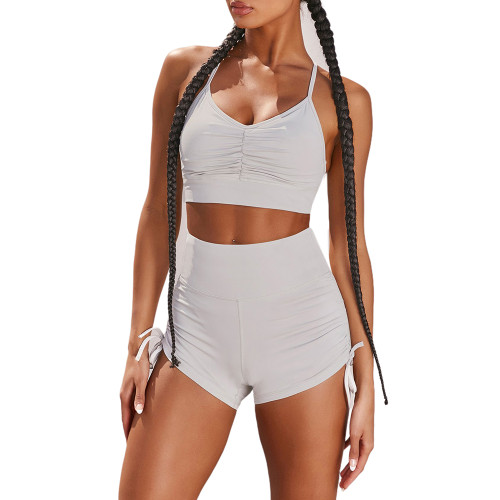 Light Gray Pleated Sports Bra with Shorts Set TQK710202-25
