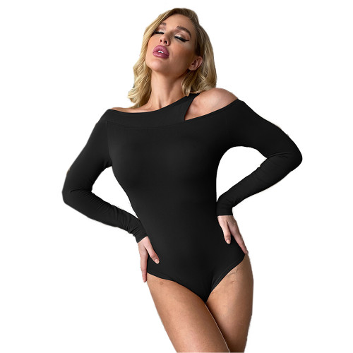 Black Long Sleeve Asymmetrical Bodysuit TQK550216-2