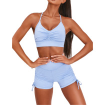 Light Blue Pleated Sports Bra with Shorts Set TQK710202-30